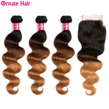 Ombre Colored Human Hair Bundle With Closure Peruvian Body Wave 3 Bundles Blonde CLosure Non Remy