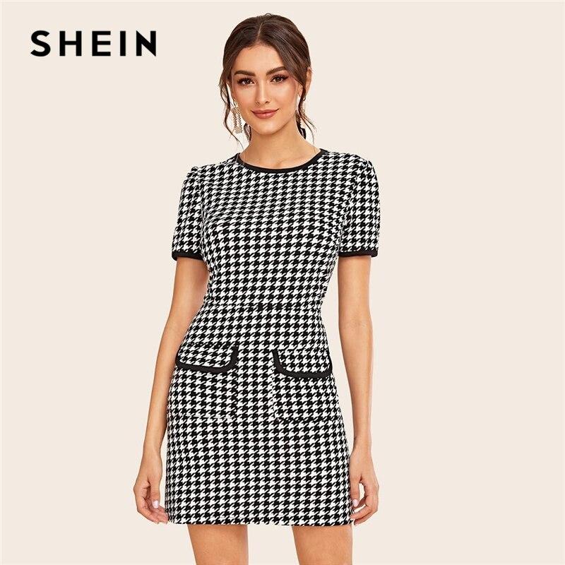 US $13.0 45% OFF|SHEIN czarno biała klapa kieszeń Houndstooth Ringer elegancka sukienka kobiety 2019 jesień krótki rękaw kontrast wiążące krótkie