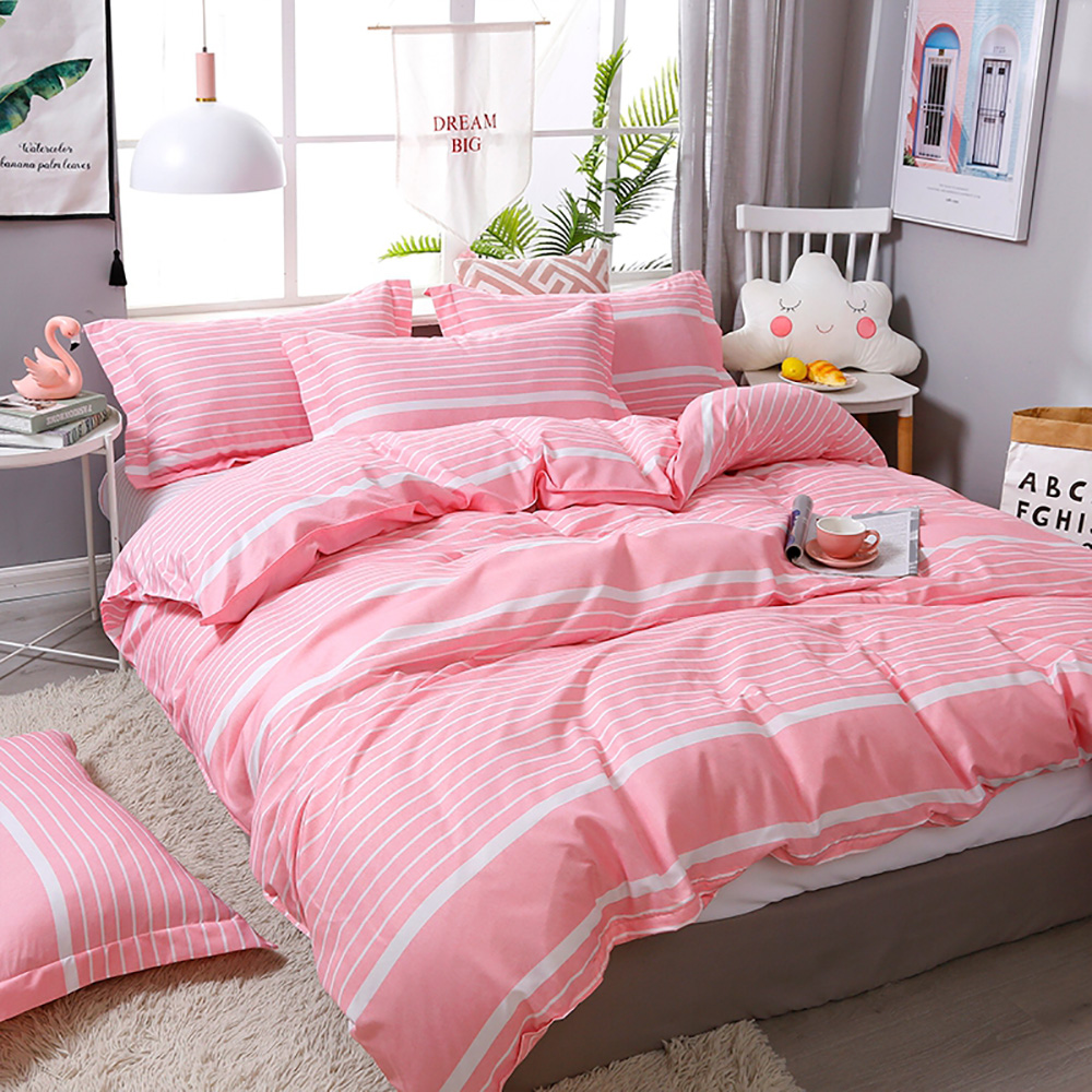 Thumbedding Pink Lattice Bedding Set For Girls Romantic Simple Duvet Cover King Queen Full Twin Single Unique Design Bed Set