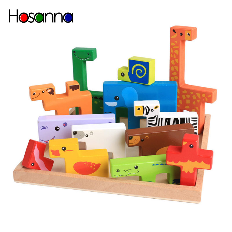 3d Wooden Puzzle Animal Hand Grab Panel Kid's Stereo Puzzle Toys For Children > 3 Years Old  Unisex