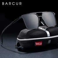 BARCUR 2019 TR90 lunettes de soleil hommes polarisées tendances Styles lunettes de soleil mâle Anti-réfléchissant carré oculos avec boîte cadeau