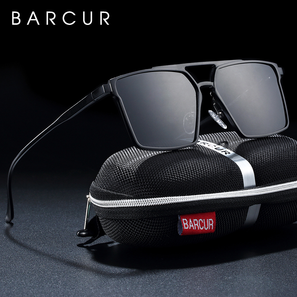 BARCUR Original Minimalist Aluminium Square  Sunglasses Men Polarized Sun glasses for Women lunette de soleil femme