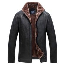 Puimentiua Mens leather jacket motorcycle turn-down collar windbreaker PU  warm 2019
