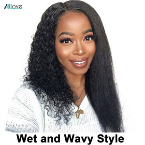 Allove Wet And Wavy Lace Front Wig Middle Part Straight Human Hair Wigs For Women 13X4X1 Water Wave Lace Front Wig Brazilian Wig