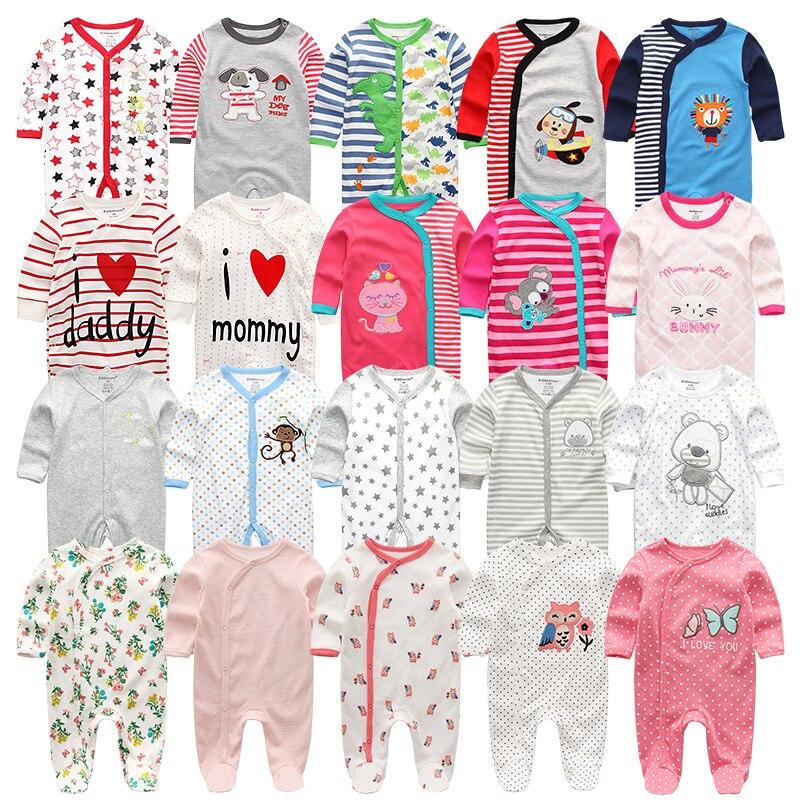 Rompers Baby Pajamas Newborn Jumpsuit Long-Sleeve Roupa Bebes Cotton Summer 3 4pcs/Lot