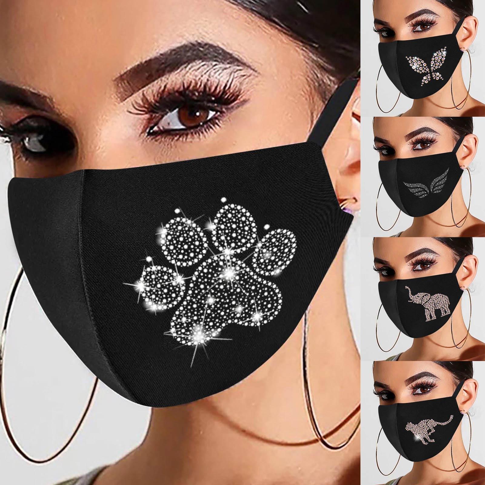 1 шт. блестящая Милая креативная маска для лица с рисунком крыльев слона собачьих лап Стразы многоразовая дышащая маска