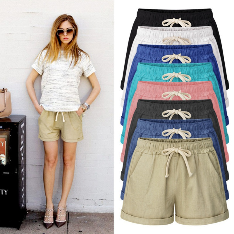 Summer Women Hot Solid  Shorts Plus Size Drawstring High Waist Shorts Breathable Cotton Shorts Clothes 6XL 2019