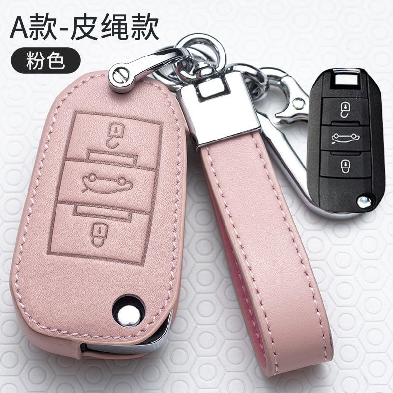 Genuine Leather Car Folding Key Case Full Cover Shell For Peugeot 208 308 508 408 2008 3008 407 307 4008 For Citroen C4