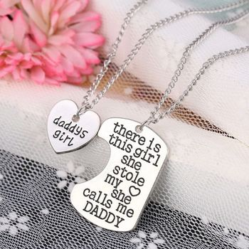 2Pcs Father Daughter Gift These Girls Stole My Heart They Call Me Daddy Keychain Set Heart Puzzle Daughter Dad Necklace image