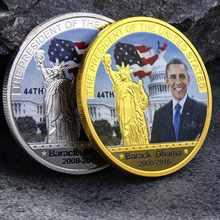 Eua americano 44th presidente barack obama prata/ouro chapeado águia moeda comemorativa