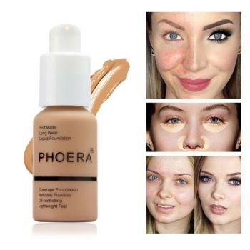Phoera 30ml Face Foundation Base Makeup Matte Oil Control Concealer Full Coverage Liquid Foundation Cream Cosmetics Maquiagem