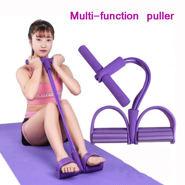 <font><b>4</b></font> <font><b>Tube</b></font> Rubber <font><b>Fitness</b></font> Elastic Abdominal Home Gym Sport Equipment Pull <font><b>Rope</b></font> Ankle Puller Resistance Bands Pedal Exerciser image