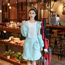 Cute cartoon reverse hoodie adult cooking apron Korean fashion full body kitchen apron long sleeve cotton(China)