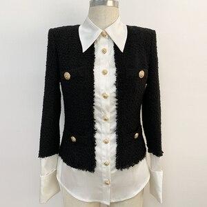 Image 4 - Chaqueta de diseñador de moda para mujer, Chaqueta con botones de León, mezcla de lana satinada, de retales de Tweed y, 2020