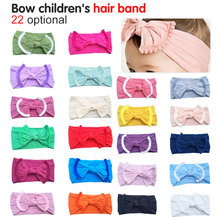 купить Cute Baby Girl Kid Big Bow Hairband Headband Solid Cotton Stretch Turban Knot Head Wrap Headwear Girls Tassels Headband 0-6Years онлайн