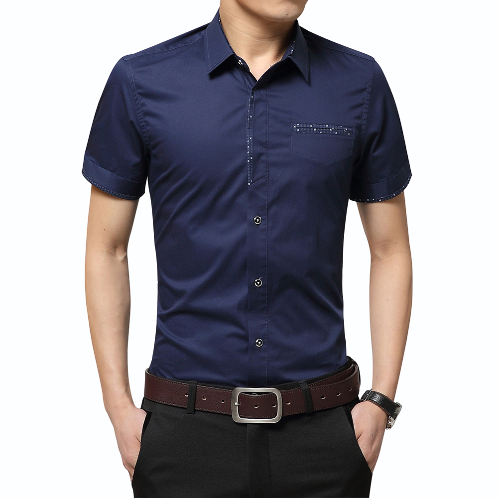 2020 Summer New Men's Shirt Brand Luxury Men Cotton Short Sleeves Dress Shirt Turn-down Collar Cardigan Shirt Men Clothes