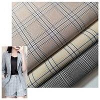 High Grade Polyester Elastic Lattice Woven Cloth Fabric Japanese and Korean Fashion Weaving Fabrics