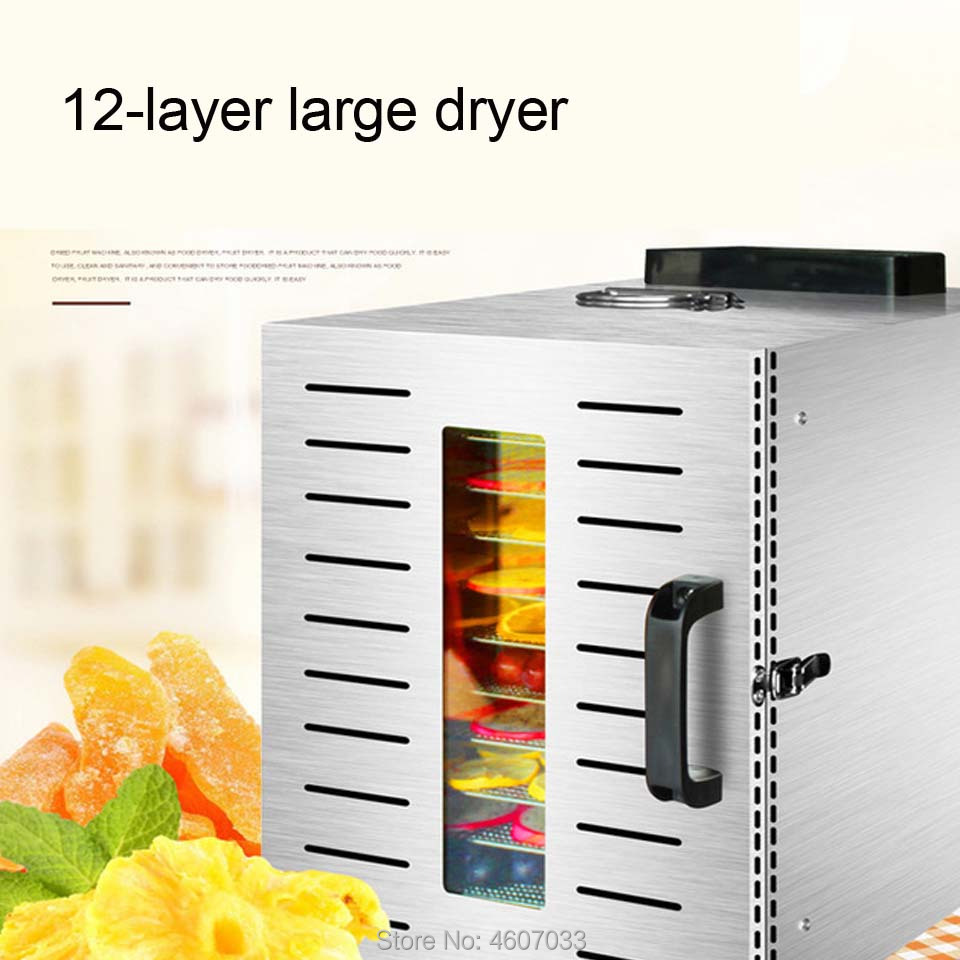 12 Trays Large Food Dehydrator Pet Snacks Dehydration Dryer Fruit Vegetable Herb Meat Drying Machine Stainless Steel 220v