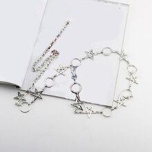 Women Waistband Narrow Waist Chain Metal Chain Stars  Pentagram Chain Belt Clothes Belt Gold Silver Long Tassel Women Belt