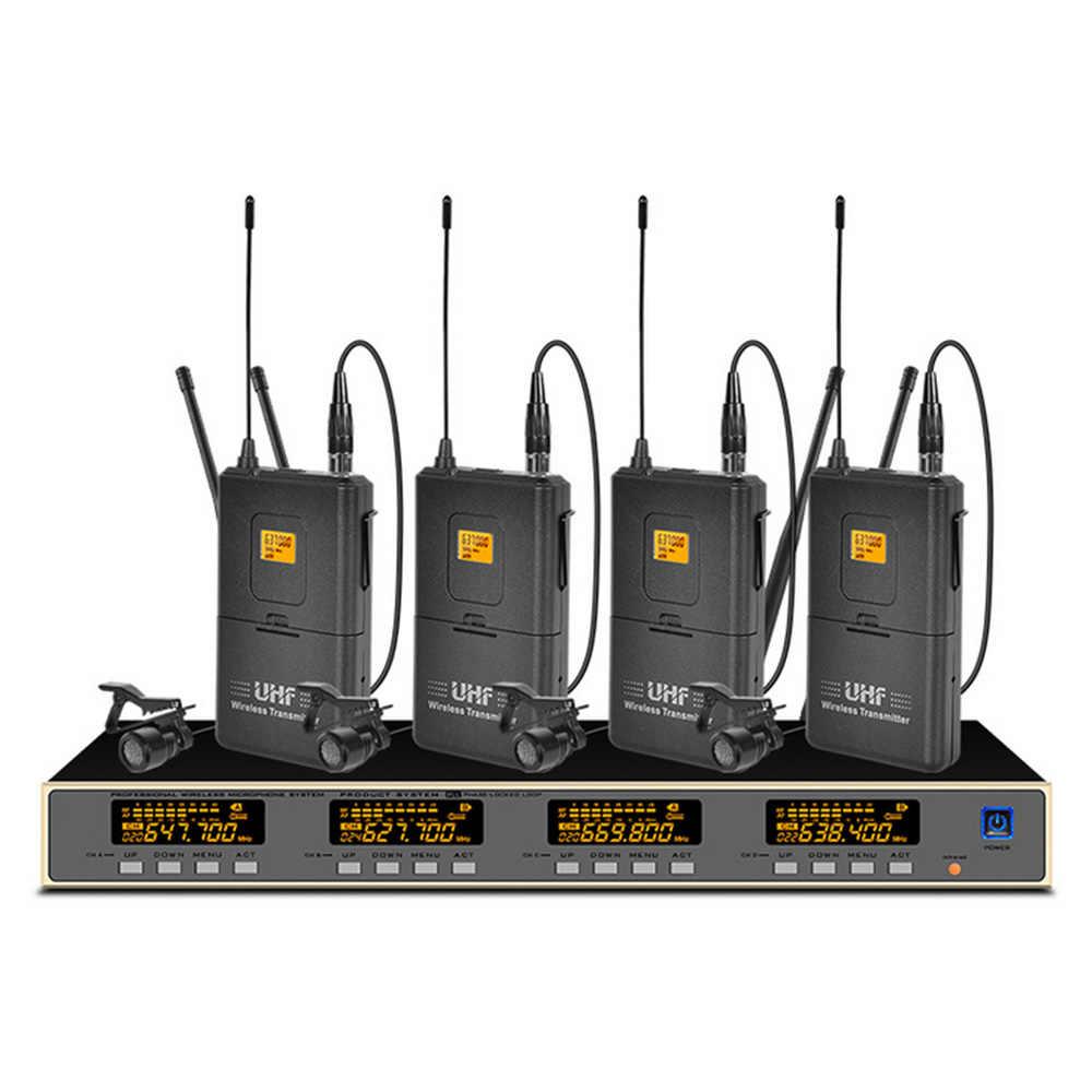 プロ UHF ワイヤレスマイク 4 襟マイクステージパフォーマンス教会屋外マイクワイヤレス
