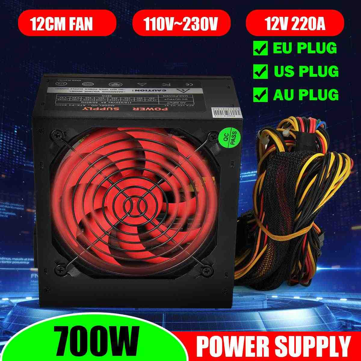 PSU PFC 700 W Watt Silent Fan ATX 24-PIN 12 Cm Komputer PC Power Supply 80 +