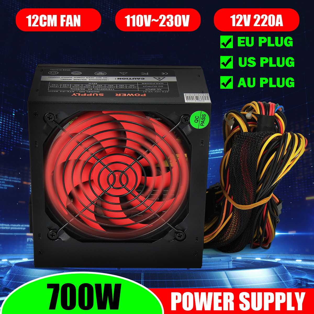 PSU PFC 700 W Watt Silent Fan ATX 24-PIN 12CM PC Computer Power Supply 80+
