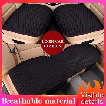 Tkanina lniana pokrycie siedzenia samochodu cztery pory roku przednia tylna poduszka lniana oddychający ochraniacz Mat Pad akcesoria samochodowe uniwersalny rozmiar tanie i dobre opinie NoEnName_Null 50inch 139inch Pokrowce i podpory Linen car seat coverItem