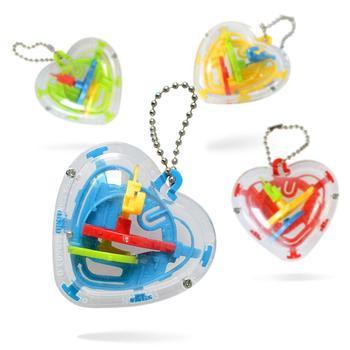 Labirynt piłka miłość kształt serca Eduicational labirynt piłka 50 bariery zabawki do wczesnej edukacji dzieci kieszeni zabawki losowy kolor