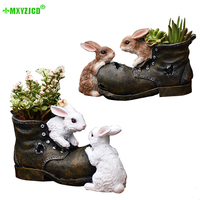 Rabbit Resin Flower Pot Garden Simulation Shoes Potted Animal Sculpture Crafts Home Decorations Accessories
