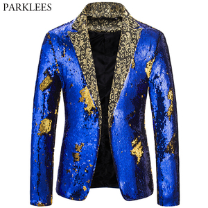 Image 3 - Mens Blazer Coat Shiny Sequin Blazer Men Luxury Wedding Singer Prom Glitter Mens Suit Jacket Club DJ Stage Blazer Masculino