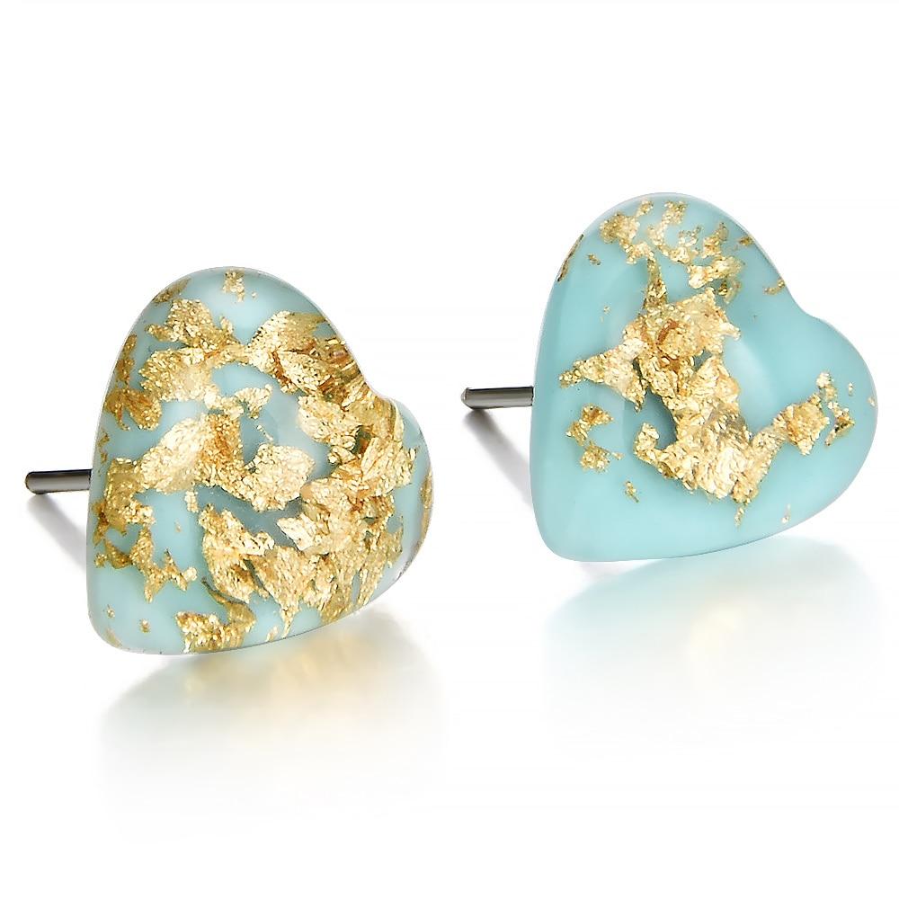 2019 Cute temperament Retro Women Girl Natural Stone green Heart Shaped Earrings Ear Stud Jewelry wedding accessories