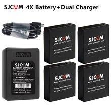 Оригинальная sjcam 4 шт батарея + двойное зарядное устройство