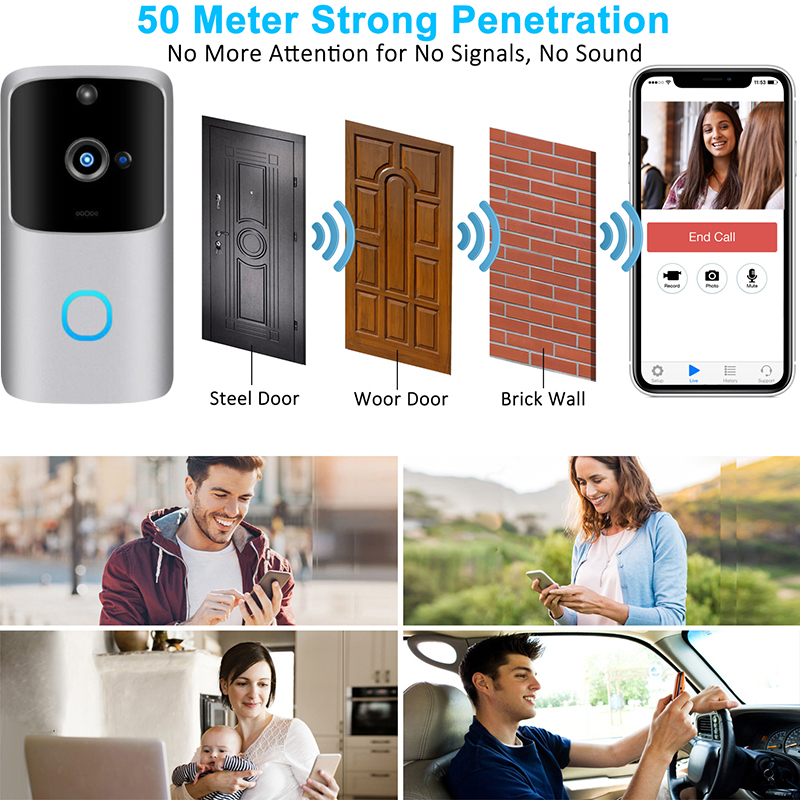 M10 Pro Smart 1080P WiFi Video Doorbell Camera Visual Intercom With Chime Night Vision IP Door Bell Wireless Home Security Camer
