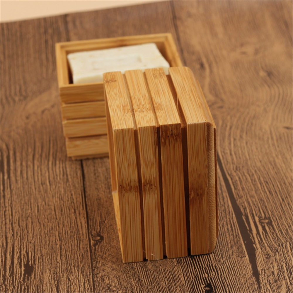 Portable Bamboo Soap Dishes Creative Simple Manual Drain Soap Box Bathroom Bathroom Soap Box Wooden Soap Tray Holder
