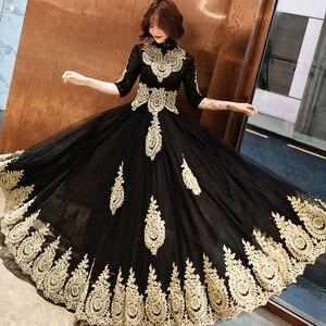 Image 3 - שמלת ערב גובה צווארון ארוך בתוספת גודל אלגנטי 2019 סקסי הולו נשים המפלגה שמלה חצי שרוול חלוק דה Soiree נשף שמלה e536