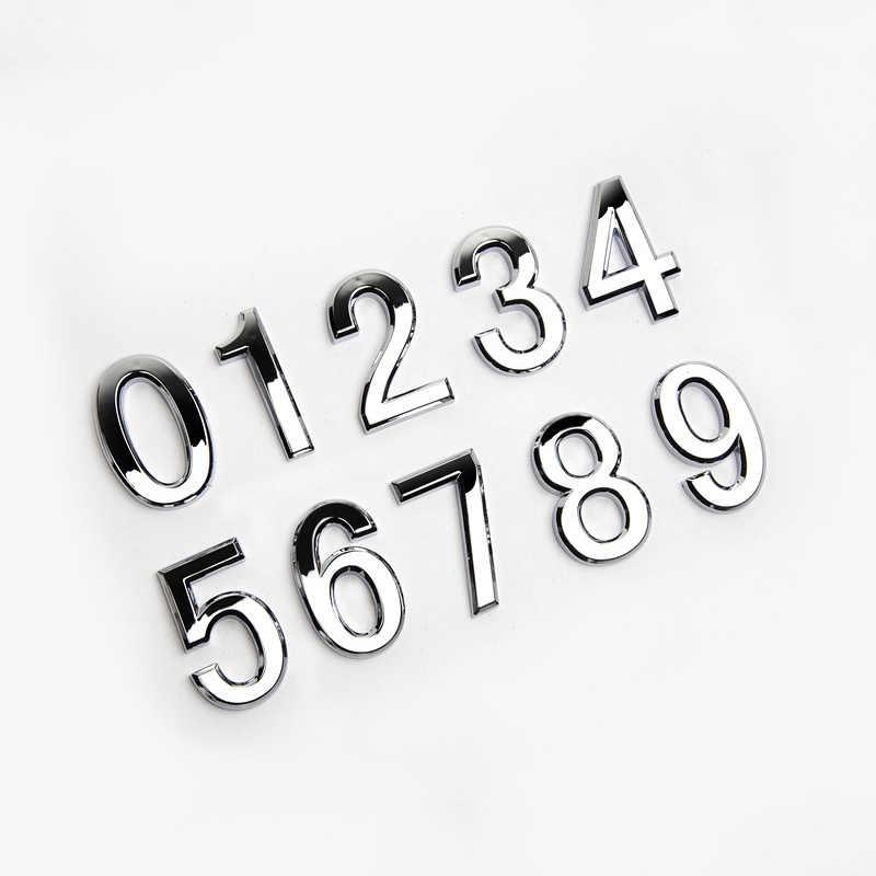 1 unidad nueva puerta de Hotel Casa plateada pegatina de dígitos placa chapada moderna decoración del hogar dirección 5cm Número