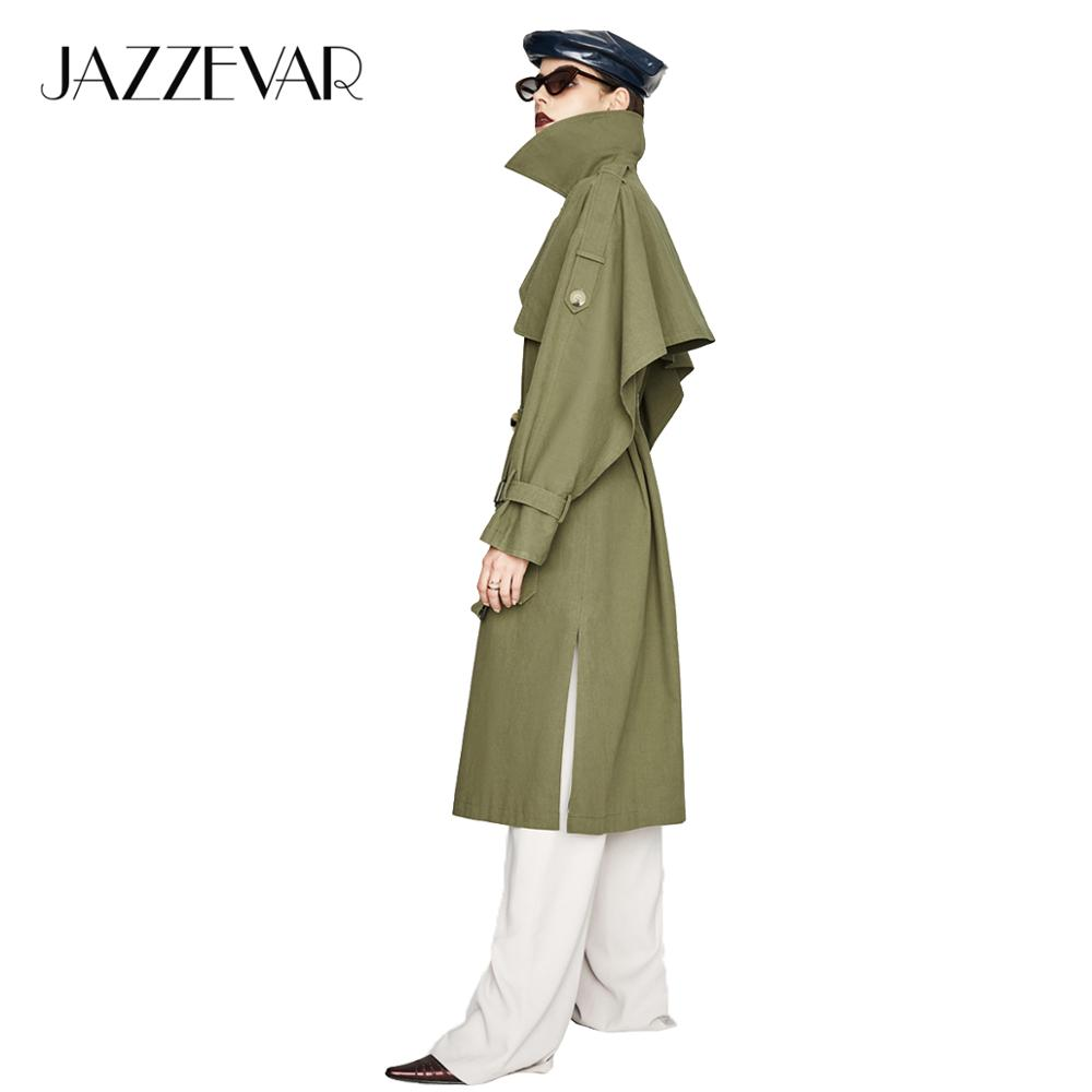 JAZZEVAR 2019 New Autumn Fashion Casual Women's X-Long Cotton Washed Trench Coat Ruffles Loose Clothing Outerwear High Quality