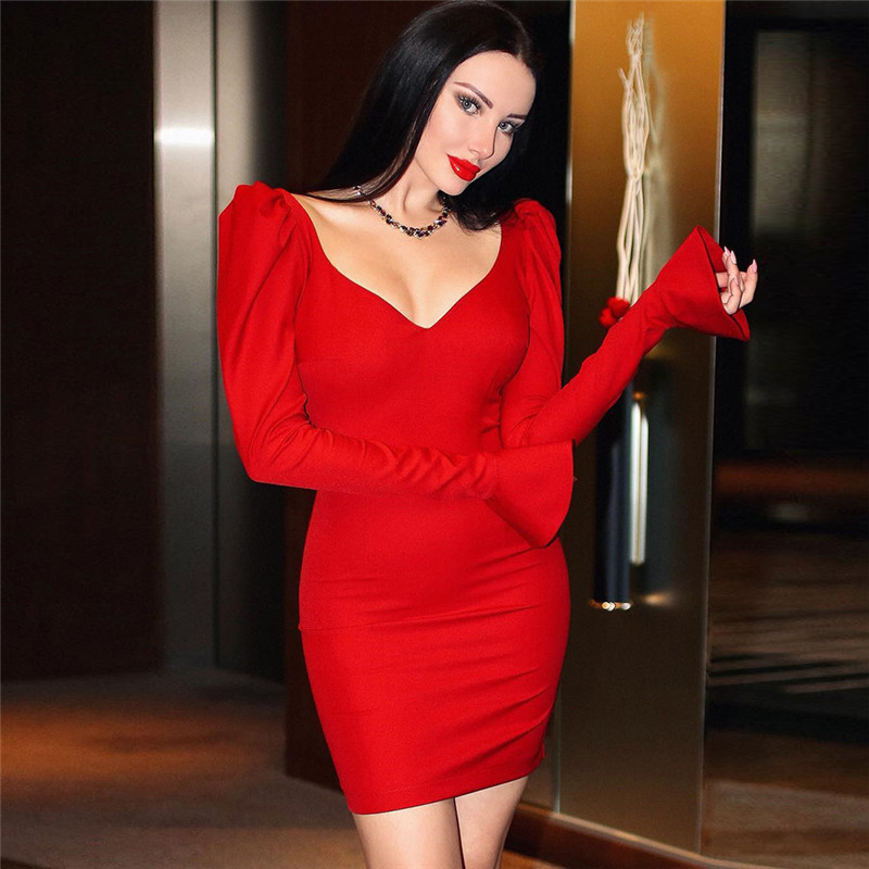 Cryptographic Fashion Flare Sleeve Solid V Neck Pencil Dresses Mini Dress Slim Elegent Evening Party Dresses 2019 Autumn Winter in Dresses from Women 39 s Clothing