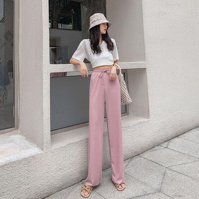 2021 New Women's Loose Summer Pants Soft Ice Silk Ankle-Length Wide Leg Pants Grey Khaki Women High Waisted long Trousers 4
