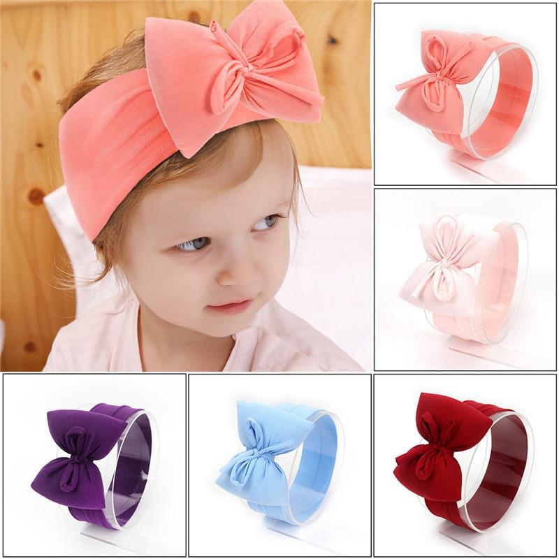 2020 новые детские повязки с большим бантом, хлопковые мягкие ленты для поддержки волос, эластичная широкая повязка на голову, детские головн...