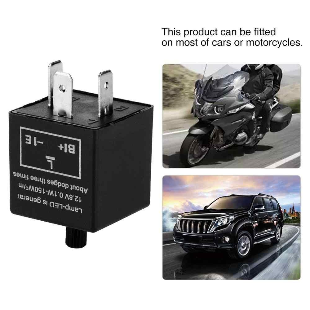 12V 3 Pin 0.1 W-150 W LED Light Flasher Blinker Relay Fix สำหรับไฟเลี้ยวสำหรับติดตั้งบนรถยนต์ส่วนใหญ่หรือ moto