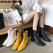 Round Toe Ankle Boots For Women Low Heel Female Microfiber Leather Brand Zipper Flat Casual Shoe zapatos mujer