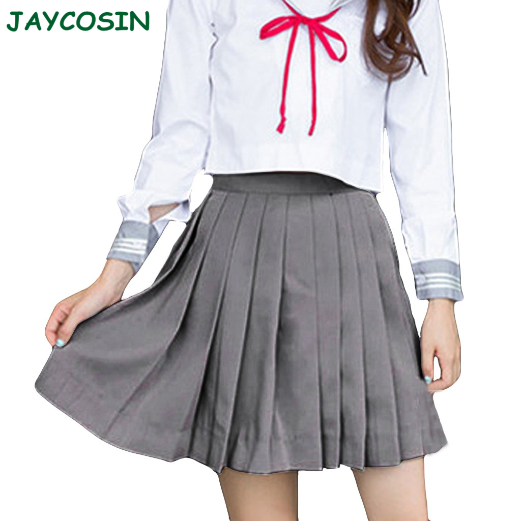 JAYCOSIN Clothes Women Pleated Skirts Fashion Pure Color Club Low-Waist Sexy Mini Skirt College Wind Faldas Mujer Moda 2020 1009