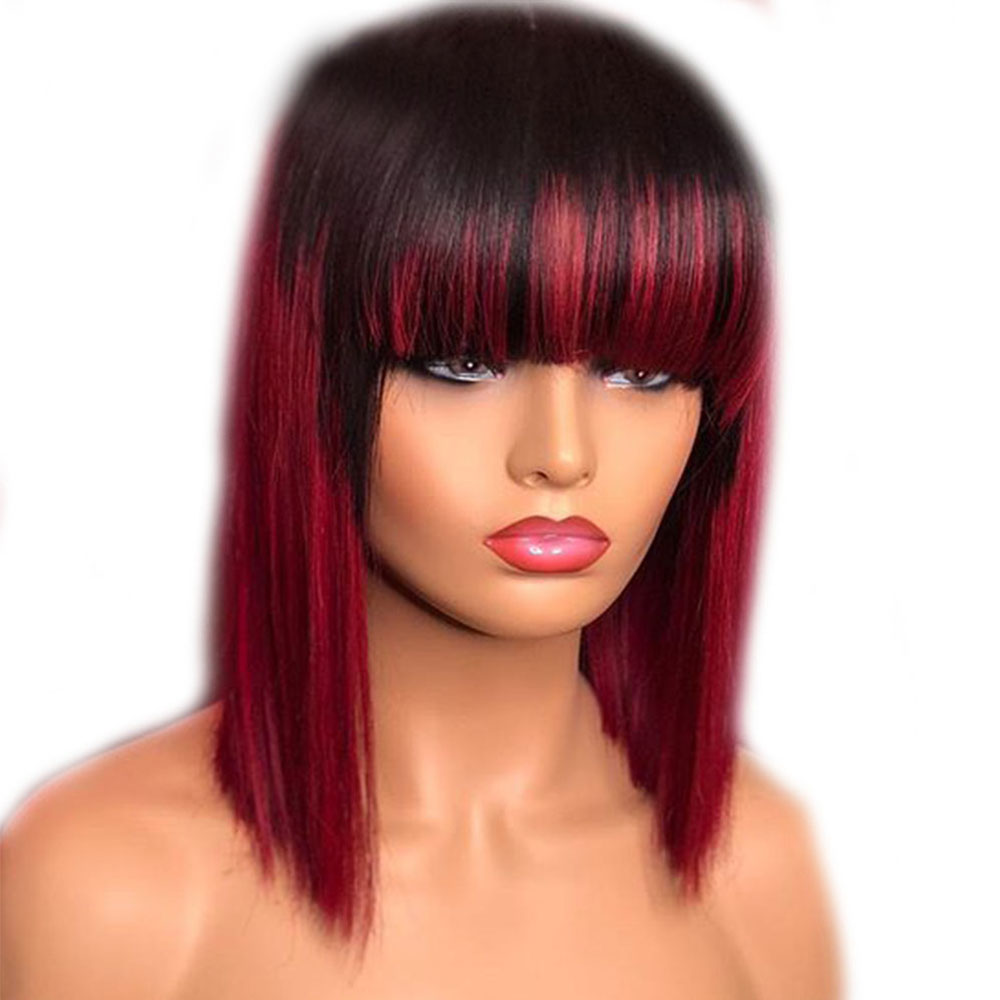 Eversilky 13x4 Lace Front Wigs Human Hair Wigs With Bangs Pre Plucked Remy Burgundy Ombre Fringe Wig Red Color Short Bob Wig