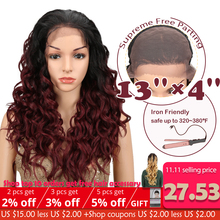 Magic Synthetic Lace Front Wig With Baby Hair Ombre 24inch Long Loose Wavy Gluel