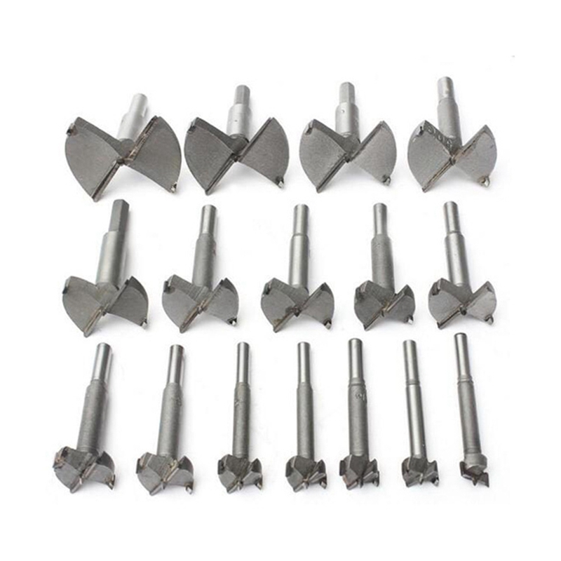16pcs 15-35mm Forstner Carbon Steel Boring Drill Bits Woodworking Self Centering Hole Saw Tungsten Carbide Wood Cutter Tools Set