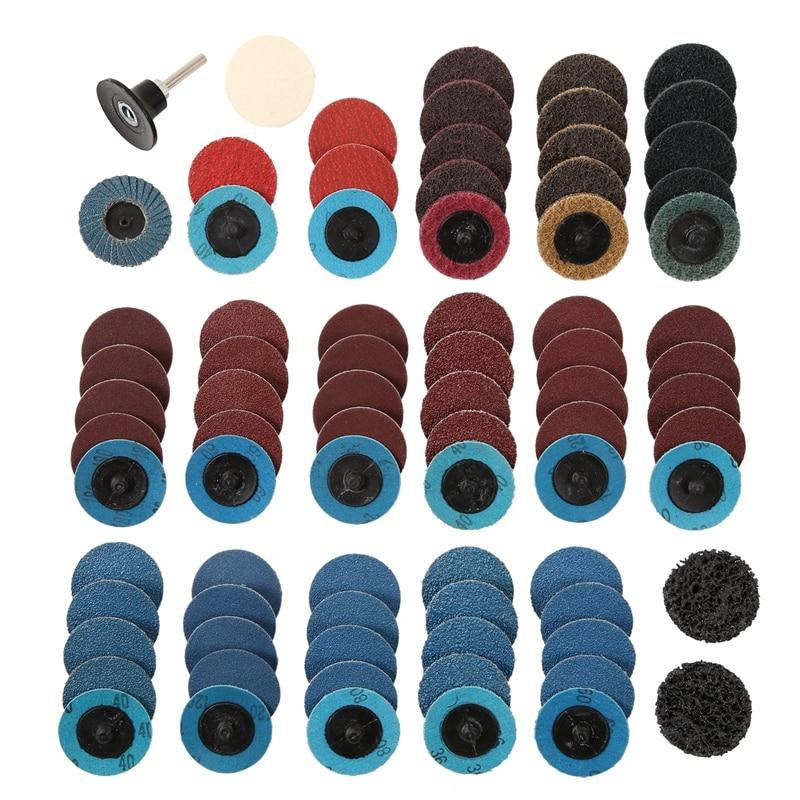 80Pcs Sanding Discs Set 2 Inch Roloc Quick Change Discs with 1/4 Inch Holder for Die Grinder Surface Strip Grind Polish