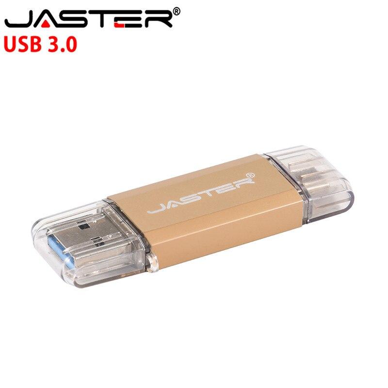 JASTER OTG Usb3.0 & Type-c Usb Flash Drives 16GB 32GB 64GB 128GB 4GB Pendrives Dual Pen Drive For Type-c Android System