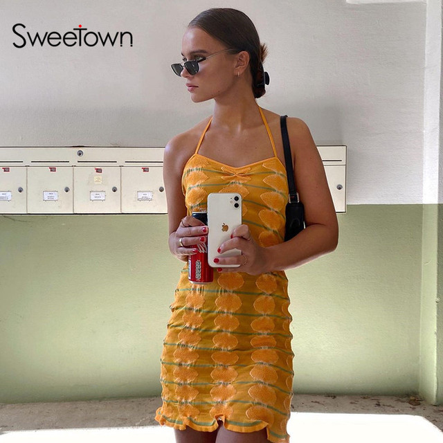 Sweetown Knitted Y2K Mini Beach Dresses Women Striped Pink 2000s Aesthetic Kawaii Clothes Slim Sexy Club Bodycon Dress Summer 3