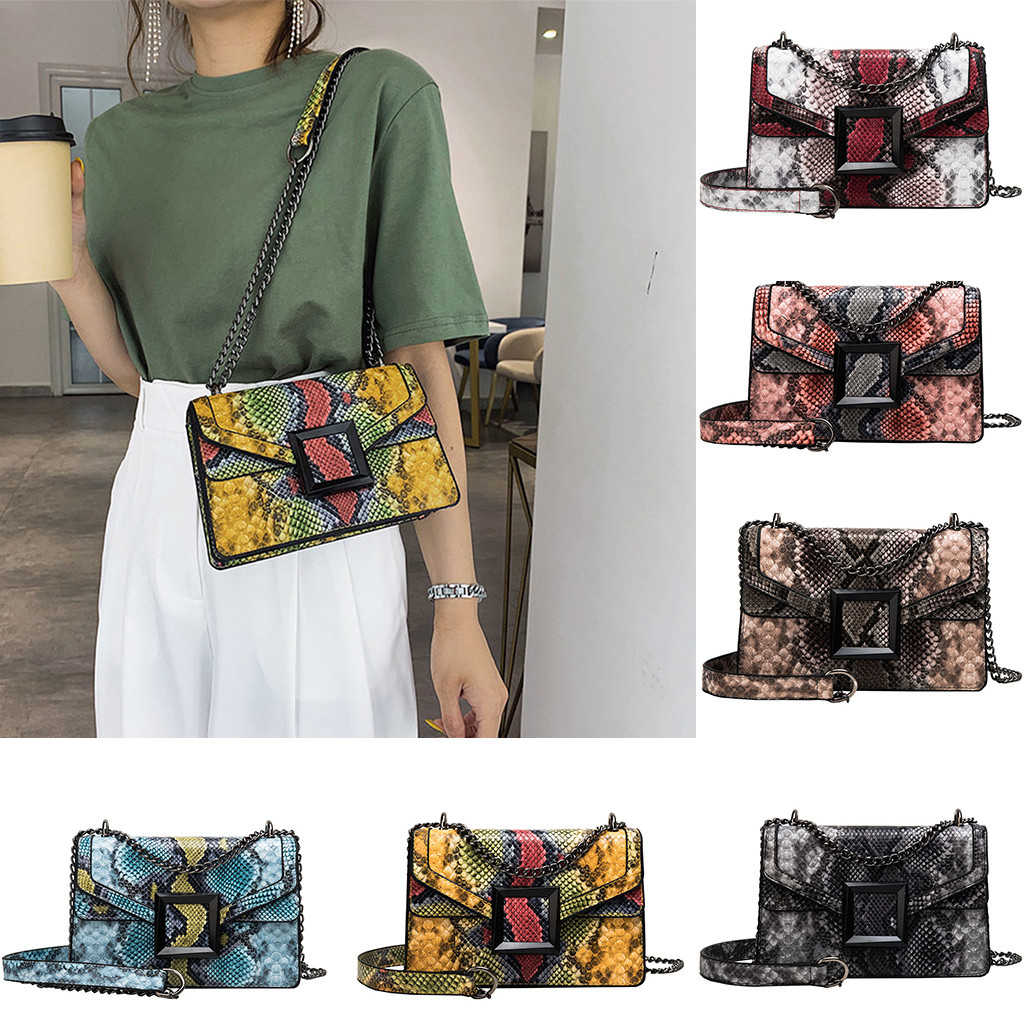 Retro Serpentine Chain Round Crossbody Bags For Women Handbags Printed Small PU Leather Shoulder Bag Snake Messenger Bag #40